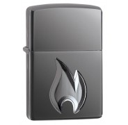 Зажигалка Armor™ High Polish Black Ice® Flame Design ZIPPO 29928