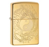 Зажигалка High Polish Brass Tiger and Dragon Design ZIPPO 49024